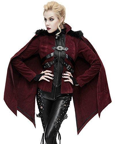 Devil fashion donna gothic giacca rosso velluto mantella mantello punk vampiro pelliccia finta - rosso bordeaux, s - uk womens size 8