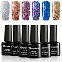 Vrenmol Glitter Gel Nail Polish Set 6pcs Soak Off UV LED Diamond Nail Lacquer Glitter Nail Art Manicure Kit 8ml ...