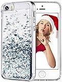 wlooo Handyhülle iPhone SE Glitzer Hülle, iPhone SE/5/5S Hülle Flüssig Bewegende Treibsand Fließend Flüssigkeit Glitter Quicksand Transparent Silikon Weich TPU Bumper Luxury Original Schutzhülle Case