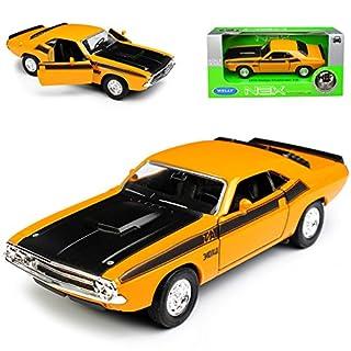 alles-meine.de GmbH Dodge Challenger T/A Coupe Gelb 1. Generation 1969-1974 ca 1/43 1/36-1/46 Welly Modell Auto mit individiuellem Wunschkennzeichen