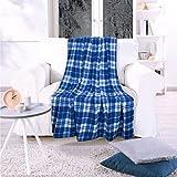 Kuscheldecke York Blue Sommerlich Leichtes Design, Blau, 150x200 cm, Flauschig Weiche Wohndecke für Erwachsene und Kinder