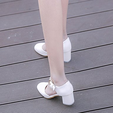 Talloni delle donne Primavera Estate Autunno Dress Altro similpelle ufficio & carriera casuale tacco grosso con fibbia Rosa Bianco Beige Pink
