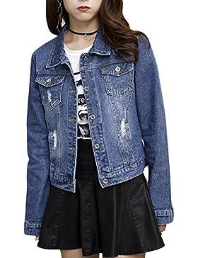 Donna Giacca di Jeans Vintage Cappotto di Denim Maniche Lunghe Slim Fit Boyfriend Jacket