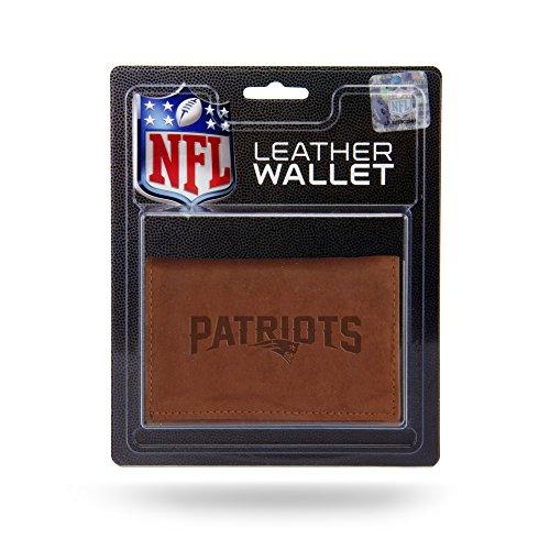 Unbekannt NFL New England Patriots geprägtes Leder Trifold Wallet, 12,7x 7,6cm Tan