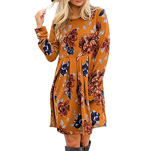 Fascino-M◕‿✦ Damen A-Linie Kleider Blumenmuster Lange Ärmel Kurzarm Casual Swing T-Shirt Kleid Knielang Tunika Mini Kleid Boho Sommer Strandkleid - Spandex-v-neck Tunika