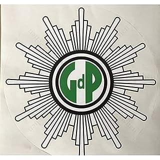 Sticker-Designs 10cm!2Stück!Aufkleber-Folie Wetterfest Made IN Germany Gewerkschaft Polizei GdP schwaz weiß Grün S730 UV&Waschanlagenfest-Auto-Vinyl-Sticker Decal Profi Qualität DigitalSchnitt