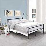 Minifair Double Bed Frame Metal Size 4ft6 Bed frame Stylish Sturdy Bed(bed frame only) (Black)