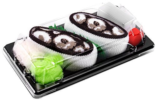Certificato OEKO-TEX Calze fantasia di COTONE|per Donna e Uomo Idea REGALO Divertente Sushi Socks Box 41-46 1 paio di CALZINI SUSHI: Nigiri Tamago Prodotto in Europa Dimensioni: EU 36-40
