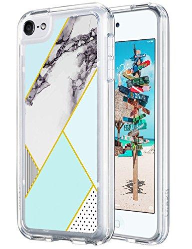 �lle, iPod Touch 6 Hülle Case Weiche Silikon TPU Schutzhülle Stoßdämpfung Bumper und Anti-Kratz PC Zurück für iPod Touch 5 6 Generation (Minze Marmor) ()