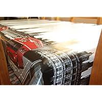TheFabricTrade - Tovaglia di tela cerata, vinile e PVC, facile da pulire, motivo: bus rosso londinese, 200 x 140