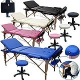Lettino per Massaggio 3 Zone in Legno Dimensione 195/225 X 70 CM + Sgabello Regolabile in Altezza + Borsa Porta LETTINI da Massaggi Portatile - Pannello Reiki - Angoli ARROTONDATI E RINFORZATI - Blu