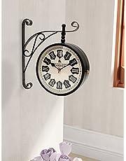 Home Sparkle Two-Sided Mild Steel Station Clock (30 cm x 9 cm x 41 cm, Black)