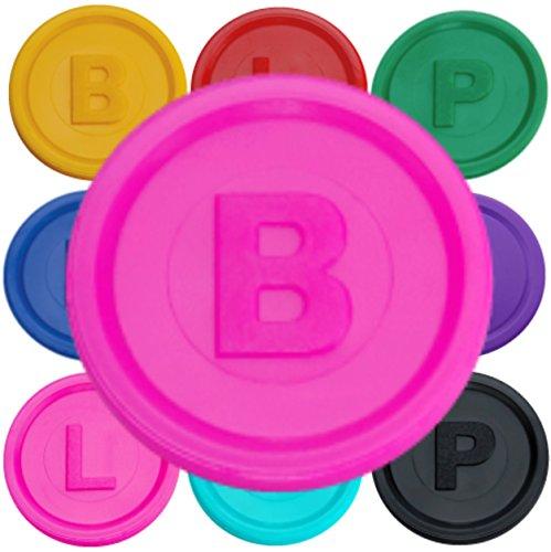 SchwabMarken 1000 Pfandmarken, Chips, Token Farbe Neon-Pi B mit den Buchstaben B P oder L in 14 Farben zum TOP-Preis