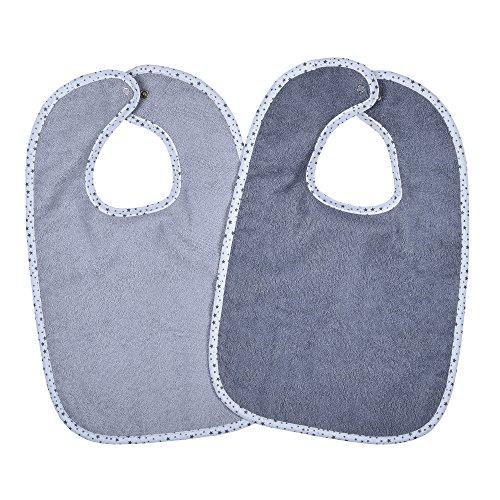 2er Set Wörner Baby Lätzchen - größenverstellbare Frottee Kinderlätzchen mit Druckknopf | extra lang, saugfähig, ÖkoTex geprüft - 100% Baumwolle - Sterne Grau