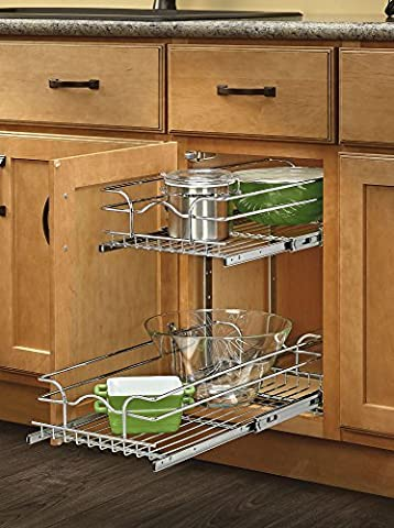 Rev-A-Shelf - 5WB2-0918-CR - 9 in. W x 18 in. D Base Cabinet Pull-Out Chrome 2-Tier Wire Basket by Rev-A-Shelf