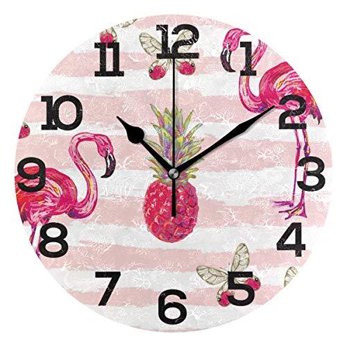 Dama Home Flamingo-Ananas-Schmetterlings-runde stille Wanduhr, die Nicht dekorative Uhren für Küche, Wohnzimmer, Schlafzimmer, Badezimmer, Büro tickt - Büro Damen-uhr Für