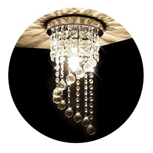 KAWELL Deckenleuchte Modern Kristall Kronleuchter Deckenlampe Kristall K9 Lampenschirm Chrom Edelstahl Lampenhalter für Schlafzimmer, Flur, Wohnzimmer, Korridor (Höhe 37CM, Durchmesser 20CM)