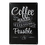 Vintage Poster Metallo Cafe Pub Bar Arredo Murale 20x30cm - Coffee Slogan