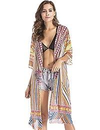SZIVYSHI Media Manga Manga Estilo Kimono Barroco Étnico Tribal Africano Azteca Flor Flores Chifón Camisola de Playa Cardigan Blouse Blusón Blusa Shirt Camisa Top