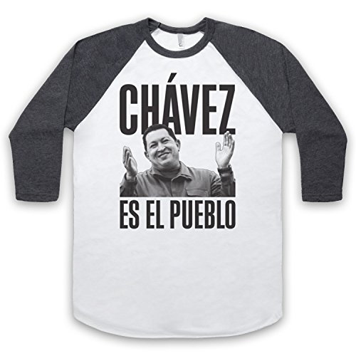 Hugo Chavez Es El Pueblo 3/4 Hulse Retro Baseball T-Shirt Weis & Dunkelgrau