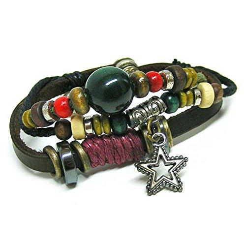 Linus Jade® Piel de pulsera Surfer étnico hippie tribal Madera Multicolor Bola Estrella