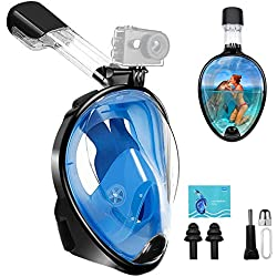 Masque de Plongée - Masque de Snorkeling Intégral pour Vision Panoramique à 180 °, Dual Tuba Anti-buée Anti-fuite Support de Caméra/Gopro aux Sports Plongée Bouteille Chasse Sous-marine Apnée
