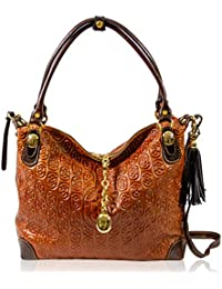 4e243fa170 Marino Orlandi Italian Designer Monogram Cognac Leather Hobo Purse  Crossbody Bag