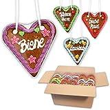 35 Stück Lebkuchen Herzen Mischkarton bunt gemischt - 14cm - Lebkuchenherzen mit Oktoberfest Sprüche - Lebkuchenherz als Partydeko für Wiesn Mottoparty günstig online bestellen von LEBKUCHEN-WELT