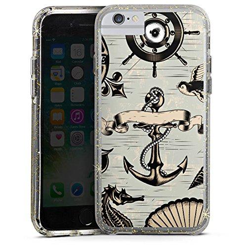 Apple iPhone 6 Bumper Hülle Bumper Case Glitzer Hülle Anchor Anker Seefahrer Bumper Case Glitzer gold