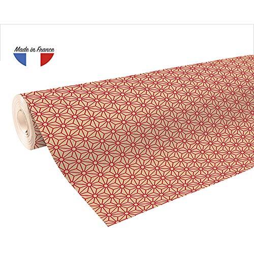 Clairefontaine 223802C Rolle Geschenkpapier mit rote Rauten, 50 x 0,70m, 70g/qm, Recycling Kraftpapier, ideal für große Geschenke, 1 Stück, Rot