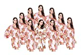 FETE FABULOUS Set of 10 Hen Party Getting Ready Robes, OSFM, Wedding Dressing Gowns for Bride/Bridesmaids, 9 Blush/Light Pink Satin FLORAL & 1 Diamond White Satin Floral Kimono Robes