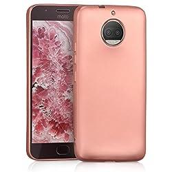 kwmobile Funda para Motorola Moto G5S Plus - Carcasa para móvil en [TPU Silicona] - Protector [Trasero] en [Oro Rosa Metalizado]