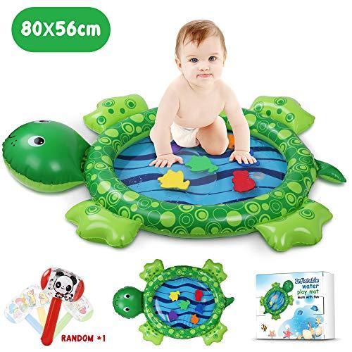 Wassermatte Baby, 80 * 56CM Meeresschildkröte Form Bauch Zeit Wasser-Spielmatte für Kinder und Kleinkinder, Stimulation Wachstum Ihres Babys, mit Aufblasbarem Hammer ()