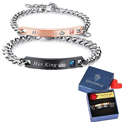 Gkmamrg EIN Paar Damen Herren Pärchen Armbänder, Edelstahl Panzerarmband mit Gravur His Queen und Her King Rosegold schwarz Silber