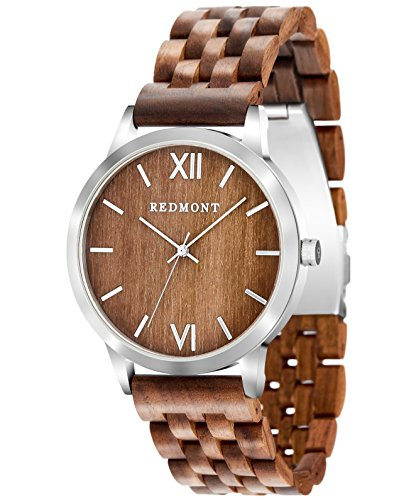 REDMONT Herrenuhr mit Holzarmband Analog Quarz Horizon Collection Walnut Edition