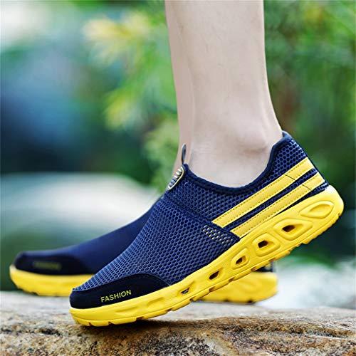Scarpe da Ginnastica Sneaker Traspiranti Leggere alla Moda con Paio di Caviglie Estate Piatte Traforate Sportive Pedali(Nero+41 EU)