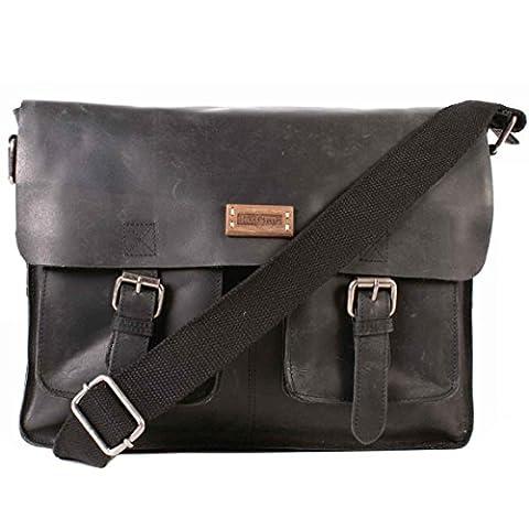 m9302604George Sac 100% en Cuir Noir le Craf Sac à (Flap Satchel Handbag)