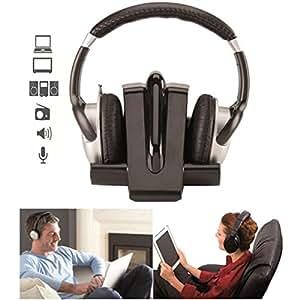 ProBache - Casque infrarouge écouteur sans fil stéréo noir multimédia