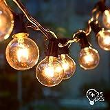 amzdeal Lichterkette Glühbirnen Außen, Große Schnur Lichterkette 10.15M G40/ E12, Innen und Außen Deko für Zuhause, Party, Weihnachten, Garten, Hochzeiten, Feier (25 Glühbirne mit 3 Ersatzbirnen)