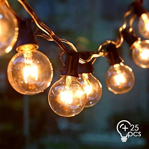 amzdeal Lichterkette Glühbirnen Außen G40 10M Schnurlichter Hängend, E12 Globe Birnen als Deko für Party, Weihnachten, Garten, Warmweiß, 25 Glühbirne mit 3 Ersatzbirnen, Wasserdicht IP44