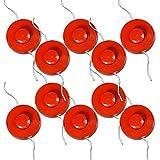 50x BRAST Fadenspule mit Tippautomatik für Motorsensen mit M10 Gewinde Doppel-Fadenkopf Mähkopf Mähfaden Ersatz-Fadenspule Spule für Benzin Motor-Sense Multitool Freischneider Grasschneider Orange