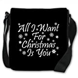 All I Want For Christmas Is You Snowflake Xmas Small Black Canvas Shoulder Bag / Handbag