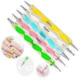 Ruikey 5 Pièces 2 Extrémités Dotting Pen Tool Nail Art Astuce Dot Paint Manucure kit