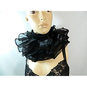 Halskrause schwarz Kragen Clown Harlekin Pierrot Verkleidung Kostüm Halsband Mühlsteinkragen