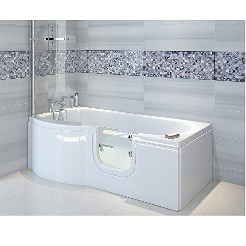 Badewanne mit Tür, Seniorenbadewanne 167,5×85/75x53cm mit Duschkabine,Wannenschürze und Ablauf/Sifon, Ausführung LINKS