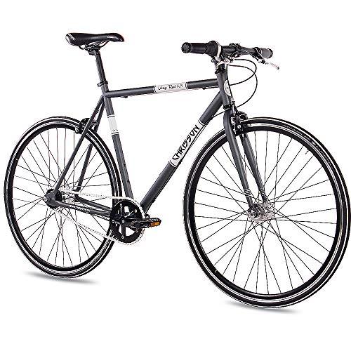 CHRISSON 28 Zoll Retro Rennrad Vintage Bike - Vintage Road N7 anthrazit 59 cm mit 7 Gang Shimano Nexus Nabenschaltung, Urban Old School Fahrrad für Damen und Herren