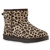 Stiefelparadies Warm Gefütterte Boots Damen Stiefeletten Schleifen Bommel Kunstfell Schlupfstiefel Leo-s Schlupfstiefeletten Schuhe 128015 36 Flandell