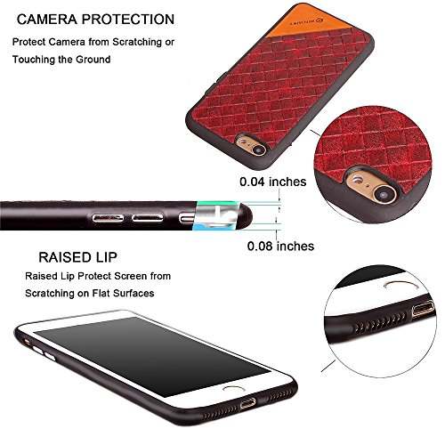 EKINHUI Case Cover Frosted Weaving Texture Back Cover Soft Ultra Thin Slim Shell Cover Case mit Galvanisierungsknopf für iPhone 7 ( Color : Red ) Black