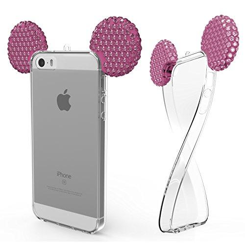 Urcover® Apple iPhone SE / 5 / 5s Handyhülle Maus Ohren Bling Ear Schutzhülle Case Cover Etui Crystal Bär Maus Ohren Girl TPU Diamant Pink