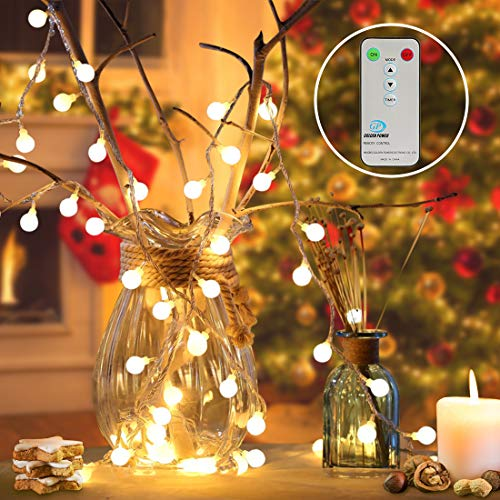 RenFox Globe Lichterkette, LED String Light 100 LED Lichterkette warmweiß & 8 Modi Fernbedienung...